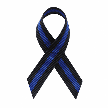 Thin Blue Line Fabric Awareness Ribbons - Bag of 250 Lapel Ribbons w/  Clutch Pins
