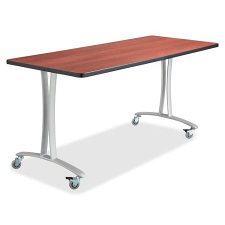 Rumba Tables Fixed T Leg Table With Casters 60 X 24 Finish Cherry Tabletop Metallic Gray Base