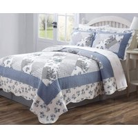 Legacy Decor 3 PCS Quilt Bedspread Coverlet Blue and White Floral Patchwork Design Microfiber Full Size