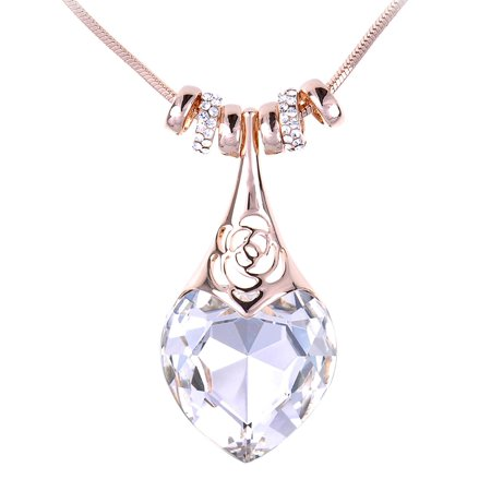 Women Clear Tone Heart Jewel Lifeforce Eternity Love Rose Outline Ringed Necklace Fashion Jewelry](Heart Gem)