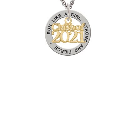 Goldtone Class of 2021 Run Like A Girl Affirmation Ring Necklace