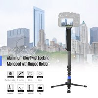 Aluminum Alloy Locking Heavy Duty Monopod Camera Unipod with Unipod Holder 1/4 Inch 3/8 Inch Screw Mounts for DSLR Camera Camcorder DV 4-Sections Up to 67 Inch Max. Load Capacity 5kg
