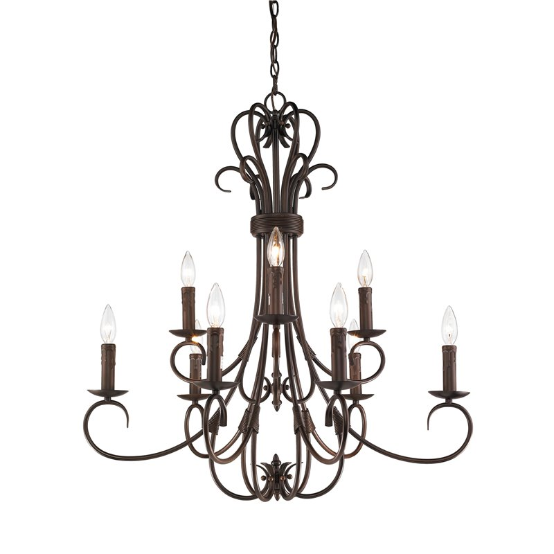 Beaumont Lane 9 Light Chandelier in Bronze with Drip Candlesticks