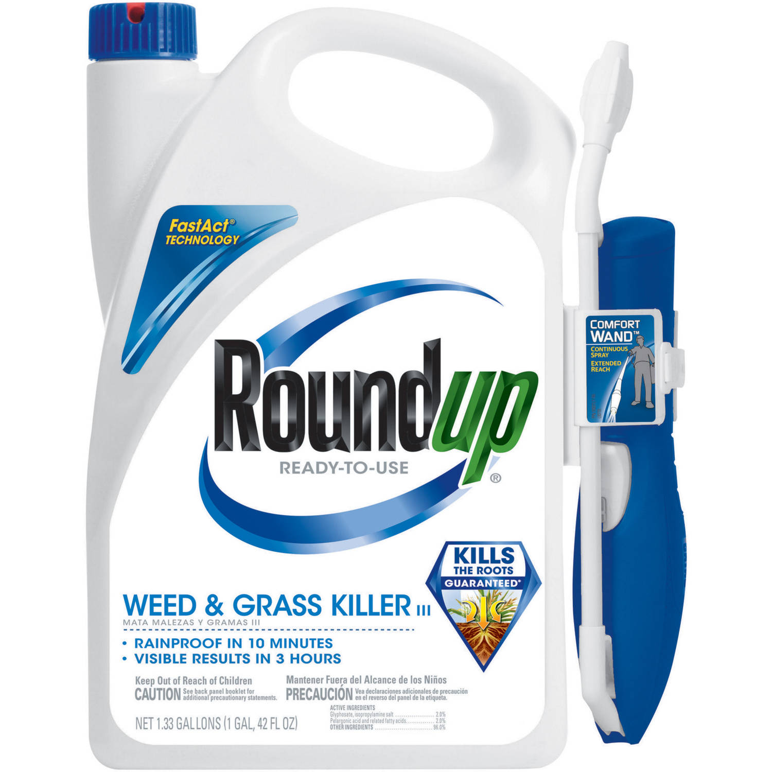 Roundup Ready-To-Use Weed and Grass Killer III with One-Touch Wand, 1.33 gal