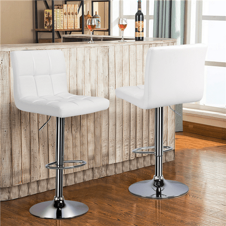 Yaheetech Set of 2 Square PU Leather Adjustable Bar Stools Back Counter Height Swivel Stool Swivel Armless(White) ()