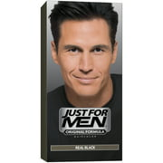 Just For Men Shampoo-In Hair Color Real Black, 1 Application, Pack of 2
