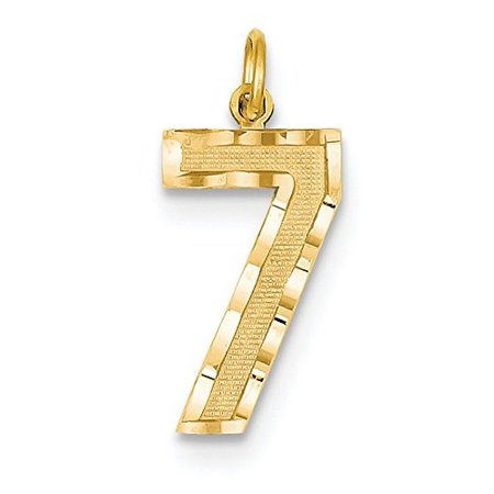 14K Yellow Gold Large Number 7 Charm Pendant MSRP $130