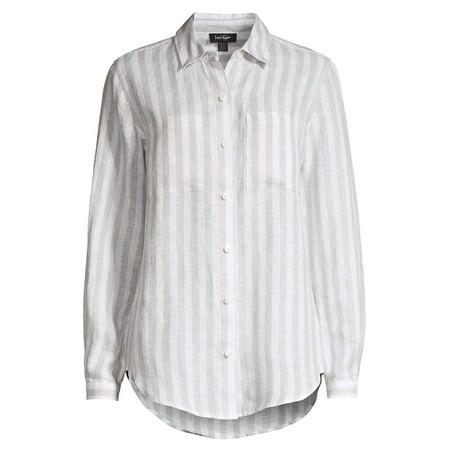 Natural Striped Linen Button Front Shirt (Top Designer-sonnenbrillen)