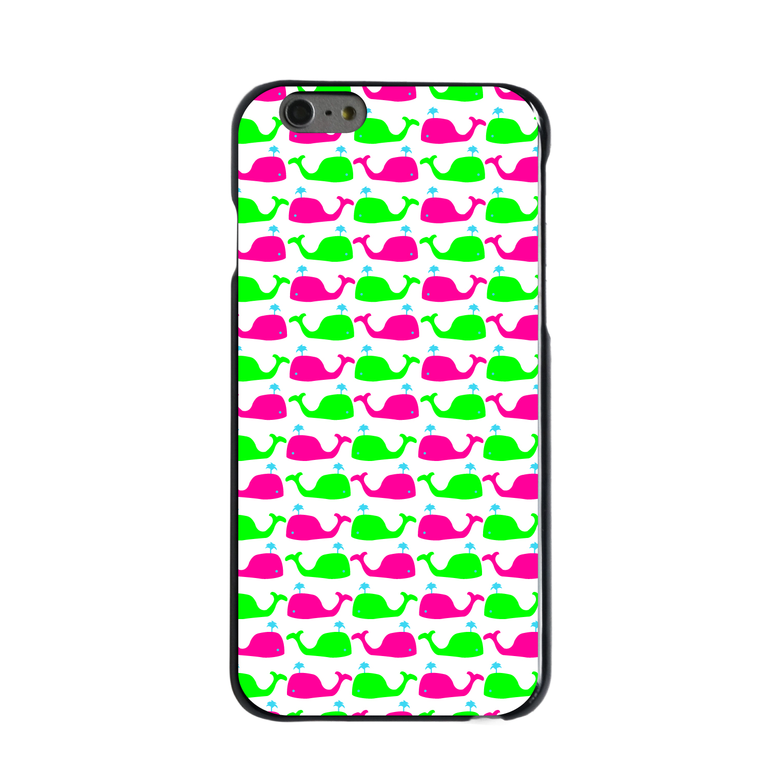 """CUSTOM Black Hard Plastic Snap-On Case for Apple iPhone 6 / 6S (4.7"""" Screen) - Green Pink Cartoon Whales"""