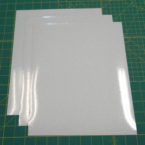 "White Siser Glitter Three (3) 10""x12"" Sheets of Iron-on Heat Transfer Vinyl Sheets"