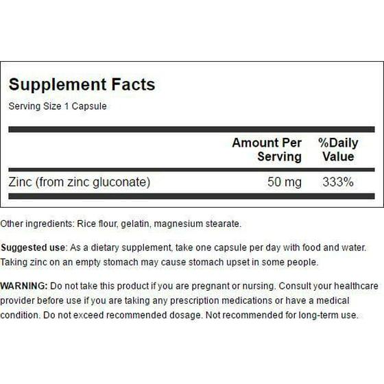 Swanson Zinc Gluconate 50 mg 250 Caps