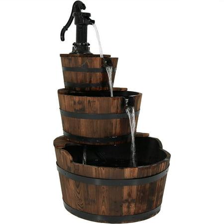 Sunnydaze Outdoor 3-Tier Vintage Water Pump and Wooden Barrel Garden  Fountain, 39 Inch Tall