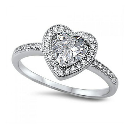 Heart Shaped Crystal Ring (925 Sterling Silver Heart Shaped Cubic Zirconia Ring )