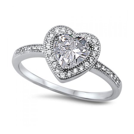 925 Sterling Silver Heart Shaped Cubic Zirconia Ring