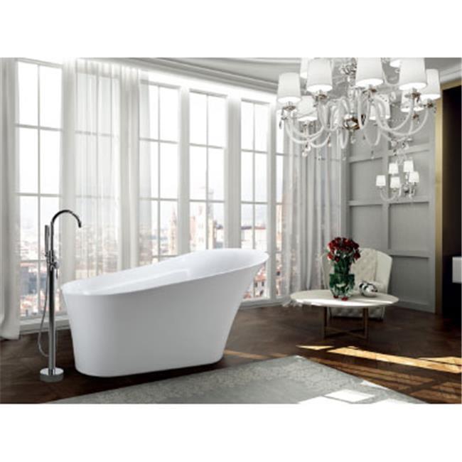 67 in. 96.8 lbs Freestanding Soaking Bathtub, Glossy White