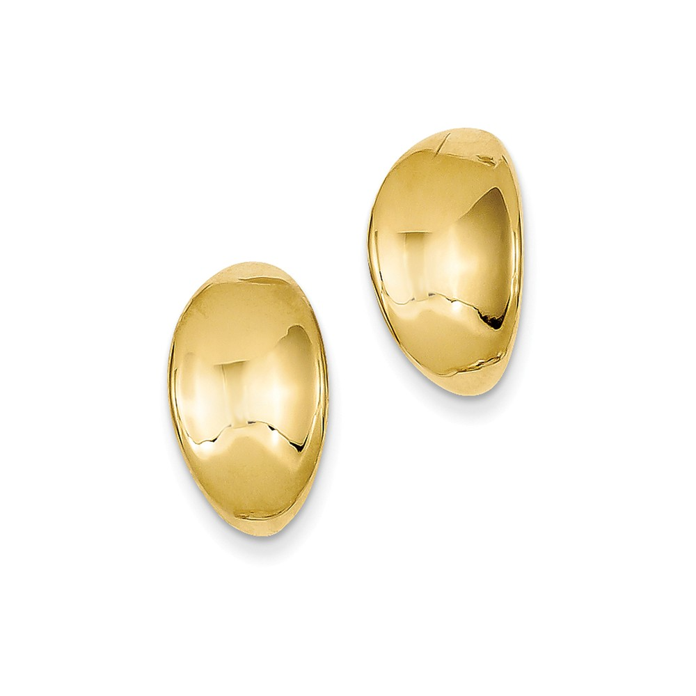 14k Yellow Gold Inverted Oval Button Earrings (0.6IN x 0.3IN )
