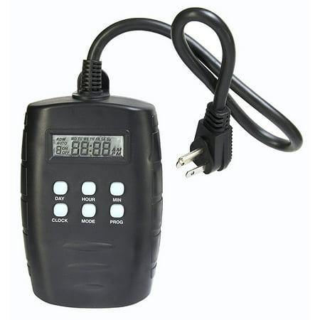Westek TM15DOLB 2-Outlet Digital Outdoor Timer with Grounded Outlets (Black)