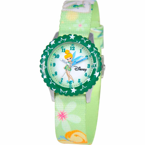 Disney Tinker Bell Girls' Stainless Steel Watch, Green Strap