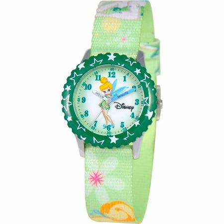 Disney Tinker Bell Girls' Stainless Steel Watch, Green Strap