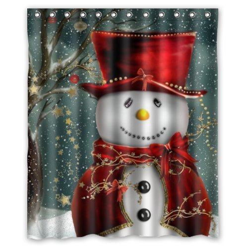 GreenDecor Christmas Snowman Waterproof Shower Curtain Set with Hooks Bathroom Accessories Size 60x72 inches