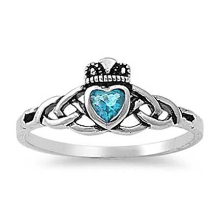 CHOOSE YOUR COLOR Simulated Aquamarine Celtic Heart Claddagh Knot Ring Sterling Silver Band (Simulated Aquamarine/Ring Size 10)