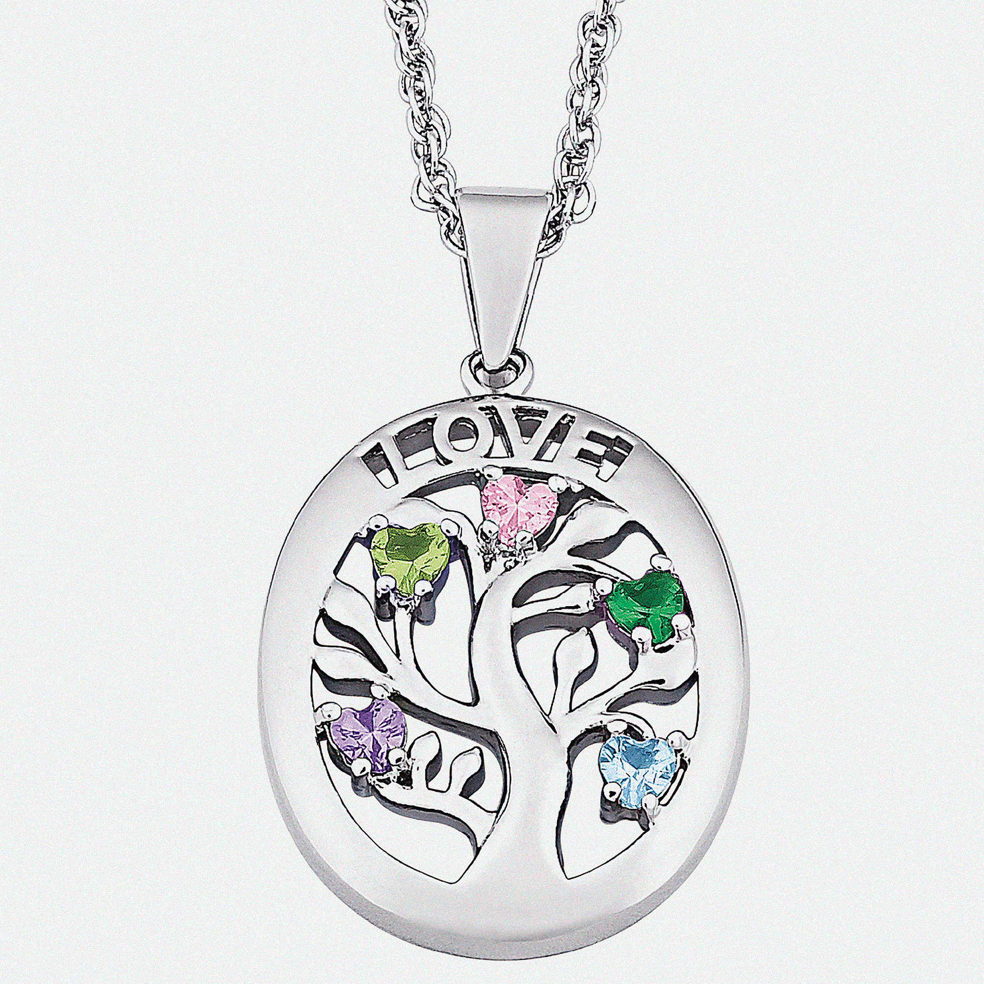Personalized Family Tree Birthstone Love Necklace