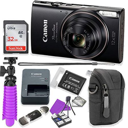 Canon PowerShot ELPH 360 HS Digital Camera (Black) Accessory Bundle with Flexible Spider Tripod, 32GB Memory, Camera Case and