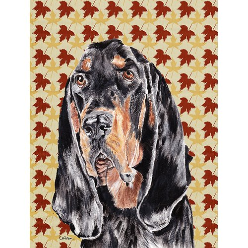Coonhound Fall Leaves Flag