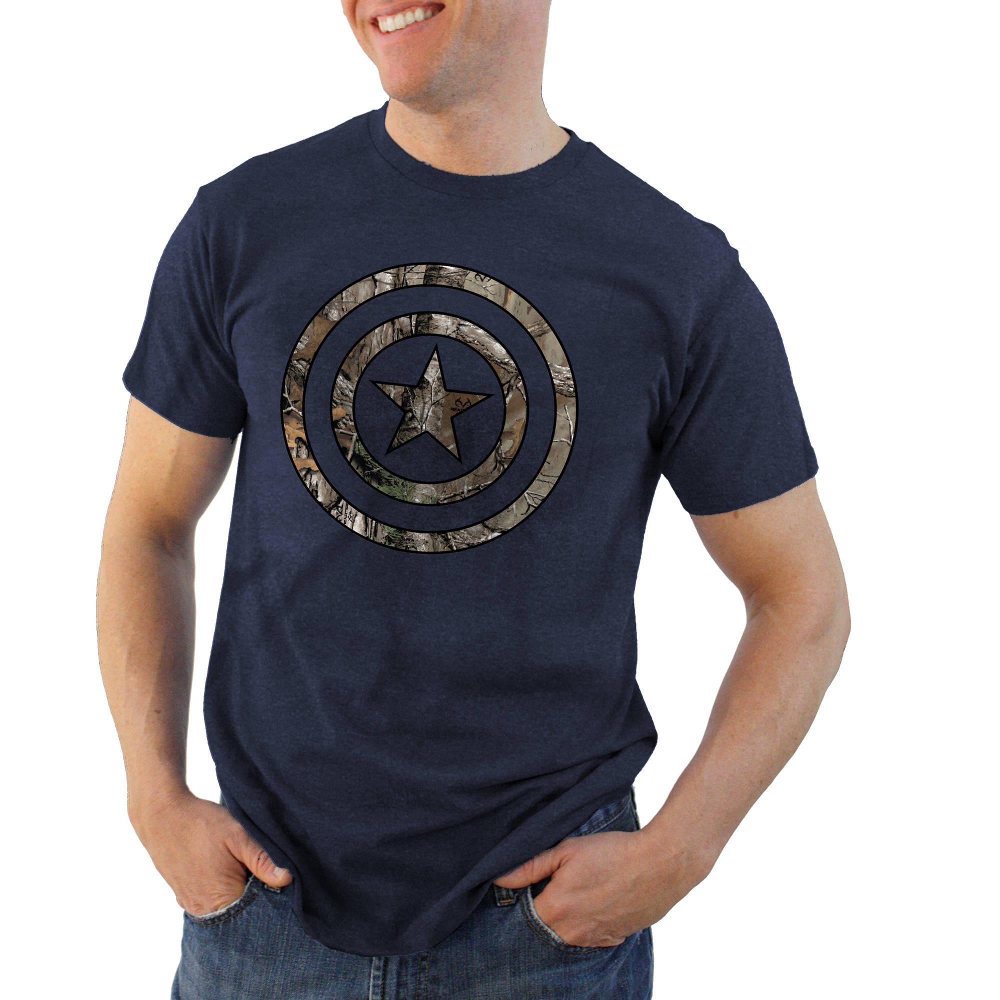 Captain America Filled Icon Realtree Logo Men's Graphic Tee