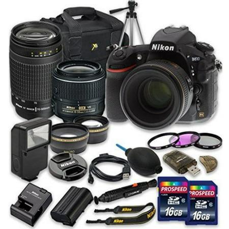 Nikon D810 Digital SLR Camera with 18-55mm f/3.5-5.6G VR II Lens + Nikon AF Zoom-NIKKOR 70-300mm f/4-5.6G Lens + Wideangle Lens + Telephoto (Best Telephoto Lens For Nikon D810)
