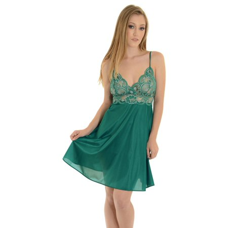 Womens Beautiful Nightgown with Elegant Sheer Lace Green or Purple-Blue