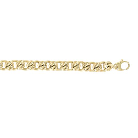 14K Yellow Gold 6mm Shiny Textured Alternate Large Oval Small Round Link Bracelet 7.5