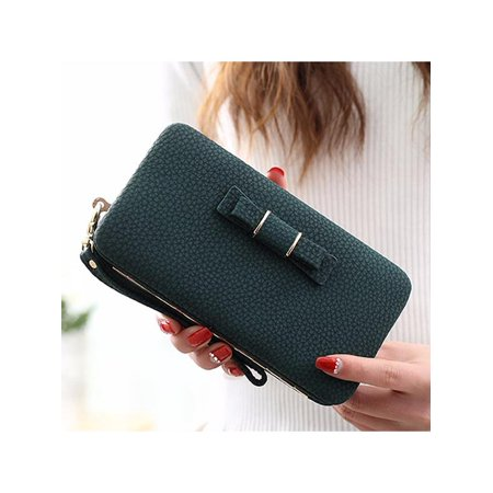 Woman Fashion Functional Butterfly Knot Purse Clutch Bag Phone PU Leather Wallet Cover Card Case For Under 5.5 Inch Cellphone - Purse Wallet