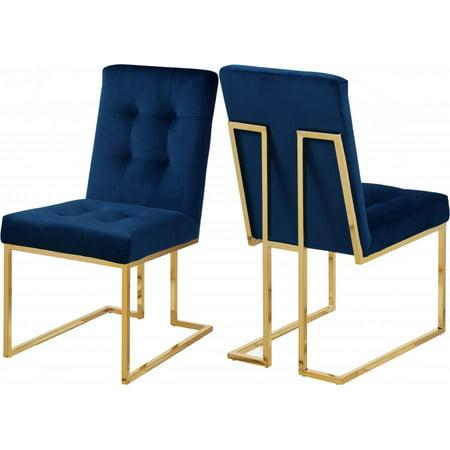 Meridian Furniture 714 Pierre Contemporary Navy Velvet Dining Chair Set 4pcs