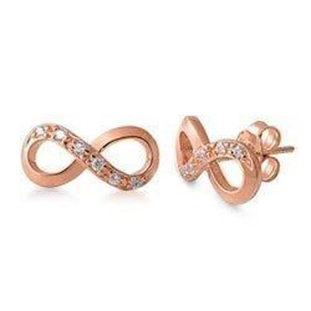 - STERLING SILVER Silver Stud Earrings - Infinity Knot CZ Rose Gold plate