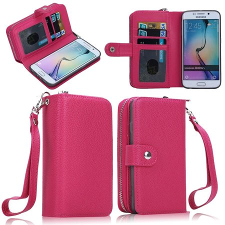 uk availability 8504b bcfd6 Samsung Galaxy S6 Edge Case ,Mignova Galaxy S6 Edge Wallet Case Premium Pu  Leather Zipper Case Magnet Knocked-down Case with Stand Flip Cover for ...