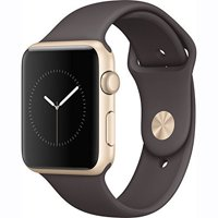 Refurbished Apple Watch 42mm Gold Aluminum Case Cocoa Sport Band Series 1