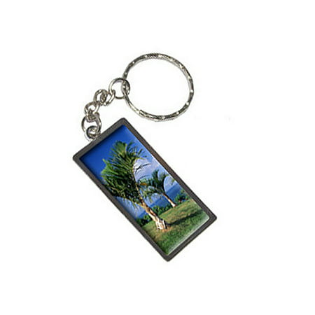 Tropical Deserted Island - Palm Trees Metal Rectangle Keychain Tropical Fish Keychain