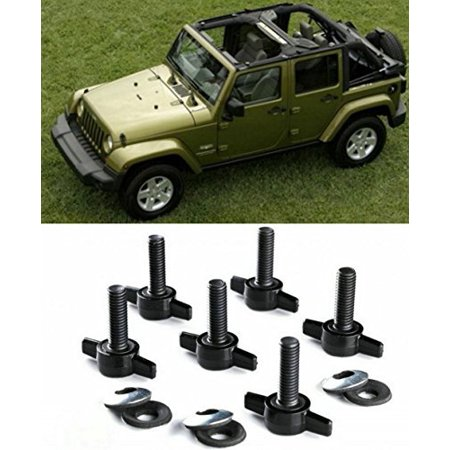 Opall Hard Top Quick Removal Change Kit set of 6 Tee Knobs For Jeep Wrangler JK JKU Sport Sahara Rubicon Freedom