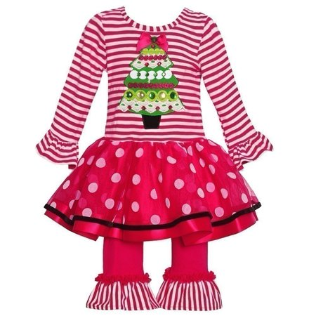 Rare Editions Little Girls Red Stripe Christmas Applique 2 Pc Pant Set