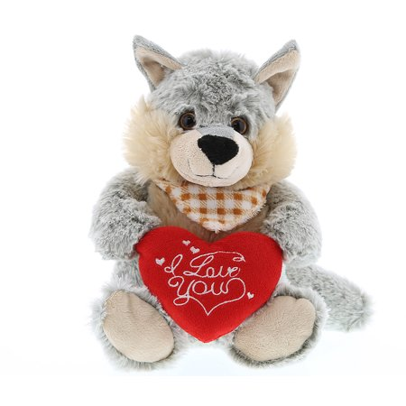 Super Soft Plush Dollibu Sitting Wolf I Love You Valentines Plush