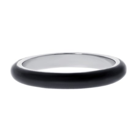 Metro Jewelry Stainless Steel Thin Ring with Black Enamel