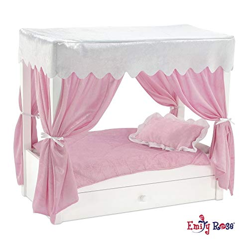"""Emily Rose Doll Bed fits American Girl Doll Canopy Bed & Doll Clothes  Trundle Storage - 13"""" Inch Doll Furniture fits Journey Girls Dolls"""