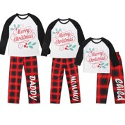 xmas family matching clothes plaid pajamas set sleepwear nightwear 2pcs clothes home set - Walmart Christmas Pajamas