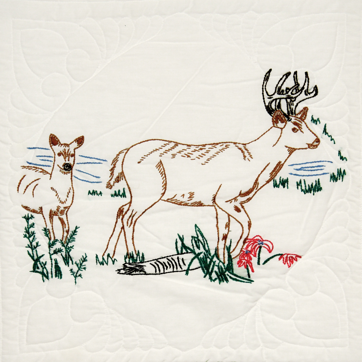 "Stamped Quilt Blocks 18""X18"" 6/Pkg-Deer"