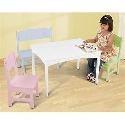 Kids Teens KidKraft 26112 Nantucket Table with Bench and 2 Chairs-Pastel Furniture Istilo123116 by GSS