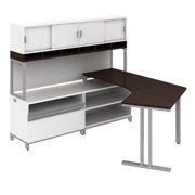 Bush BBF Momentum Left L-Shaped Desk with Hutch in Natural Maple