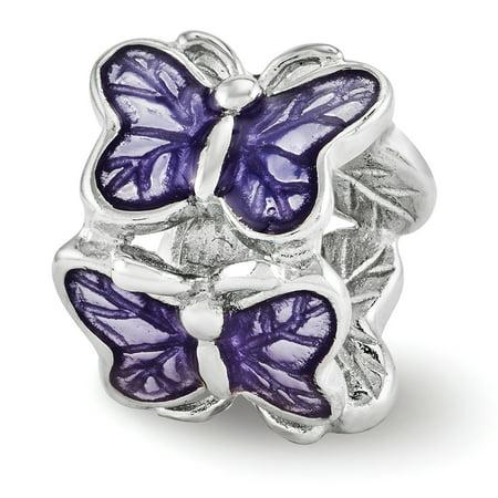 Lex & Lu Sterling Silver Reflections Purple Enameled Butterfly Bead