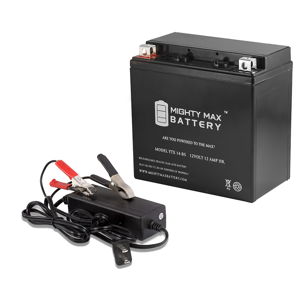 YTX14-BS Battery Replaces Buell Blast 500CC 00-09 + 12V 2Amp Charger by Mighty Max Battery