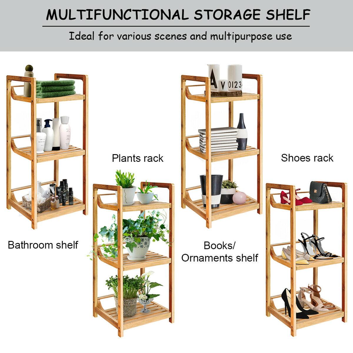 3-Tier Bathroom Shelf Bamboo Bath Storage Space Saver ...